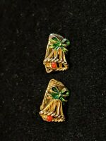 Vintage estate Gold Tone Bell Christmas Clip Earrings Red Rhinestone Green Bow