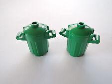LEGO 2 x  Mülltonne Mülleimer + Deckel  92926 grün aus Set 10235 10243 3182 4432