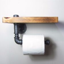 AU Toilet Paper Roll Holder Pipe Shelf Rustic Industrial Floating Bathroom DIY
