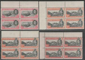 Ascension 1944-49 KGVI 1½d, 2d Block Selection Mint