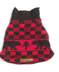 Eddie Bauer Woods Creak Fleece Lined Dog Sweater  size   (S)  (10-13 in length)