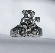 Alloy Size 12 New Free Usa Shipping Biker Ring Skull And Snake Heavy Silver Iron