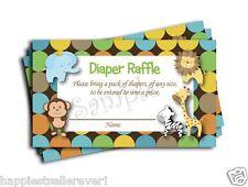 50 Jungle Diaper Raffle Tickets baby shower game lottery Boy Neutral monkey Lion