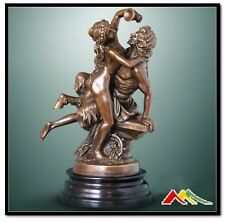bronze statue Bacchante and Satyr sculpture, SIGNED C.Michel