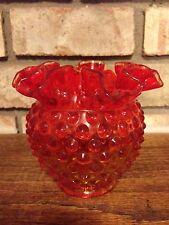 VINTAGE FENTON ART GLASS RED ORANGE RUFFLE CRIMPED HOBNAIL CANDY DISH BOWL 4 1/4