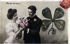 CPA Photo - Couple d'Amoureux, Trèfle - 1907