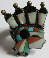 RARE VINTAGE ZUNI INDIAN SILVER INLAID TURQUOISE & STONES INDIAN CHIEF RING