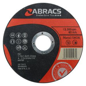 """1,000 x  Abracs 115 x 1mm metal cutting discs, inox slitting disc, 4.5"""""""