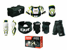 Youth large hockey pants gloves shin elbow shoulder bag neck equipment set New