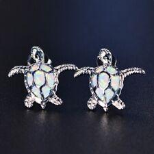 Cute White Fire Crystal Dangle Stud Earrings Silver Jewelry Bride Wedding