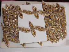 1m gold CRYSTAL bead asian indian braid dance lace bridal wedding APPLIQUE
