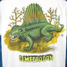 NOS vintage 80s DIMETRODON PELYCOSAURS CARTOON PAPER THIN T-Shirt M/L dinosaur