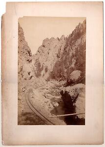 W.H. JACKSON, Platte Canon, Large Plate Albumen, Self Portrait? COLORADO 1880's