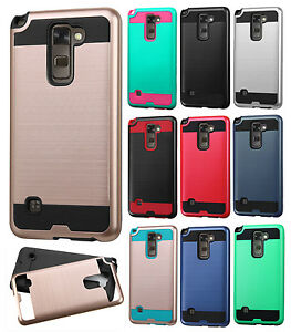 For LG Stylo 2 LS775 Brushed Metal HYBRID Rubber Case Phone Cover Accessory