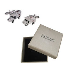 Mens Silver Ambulance With Red Cross Detail Cufflinks & Gift Box By Onyx Art