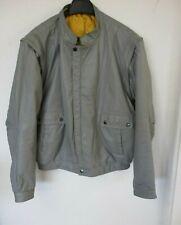 Vintage Leather Jacket, Short Bomber Style, Pale Grey, Large, Detachable Sleeves