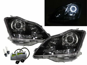 Crown S180 2003-2008 Guide LED Halo Projector HID Headlight Black for TOYOTA LHD