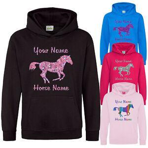 Childrens Horse Hoodie Riding School Personalised Custom Hoody Boys Girls Gift