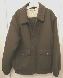 Cabelas Wool Outfitter Series Coat Olive Green Barn Hunting Jacket Insulated LG