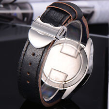 22mm Genuine Leather Strap Steel Deployment Buckle For Corgeut Parnis Watch