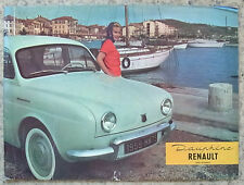 RENAULT DAUPHINE Car Sales Brochure 1959 FRENCH TEXT