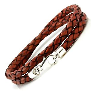 Double Wrapped Leather Bracelet-Sterling Silver Clasp Braided Antique Red