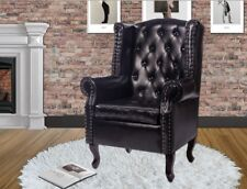 Chesterfield Black Armchair Leather Wing Chair Lounge Vintage Button Furniture