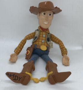 """Disney Pixar Thinkway Woody Pull String Talking 13"""" Figure with Hat Working"""