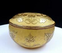"""DEPRESSION GLASS GOLD ENCRUSTED LOTUS RELIEF 3 1/8"""" DRESSER BOX 1920'S"""