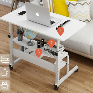 80cm Side Table Over Bed Height Adjustable Desk Study PC Table Shelf with Wheels