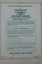 Sears db 127.300 Continental Engine Operator, Parts & Repair Manual Tractor 20pg