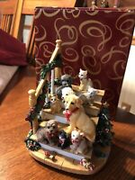 Vintage San Francisco Music Box Co Home for The Holidays Dog Cats In Box