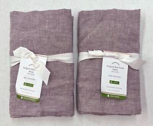 NEW Pottery Barn Belgian Flax Linen EURO Shams~SET OF 2~Lavender