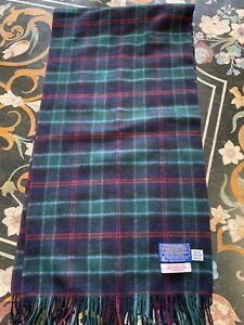 Vintage Pendleton Scarf MacTaggart Tartan Virgin Wool Green/ Blue/ Plaid