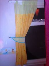 Mothercare Hop Skip & Jump Curtains / Tie Backs Pastel Green  / Yellow Spots GC