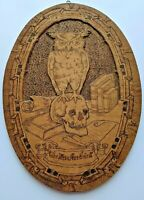 "RARE Antique OWL & SKULL Art Nouveau PYROGRAPHY Plaque ""The Wise Are Silent"""