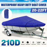 20-22FT Heavy Duty Boat Cover For V-Hull Speedboat Ski Sport Waterproof Blue
