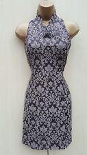UK 10 Karen Millen Vintage Jacquard Charcoal Halterneck Wrap Over Chinese Dress