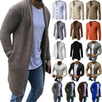 Men Knit Long Sleeve Cardigan Sweater Winter Slim Casual Jacket Coat Outwear Top