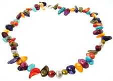 "17"" Rainbow Genuine Freshwater Pearl Necklace : Natural Shape"
