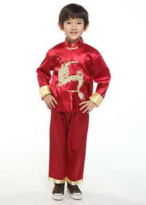 Chinese Japanese Oriental Childrens Boys Red Dragon Top Troushers Pyjamas Chboy2