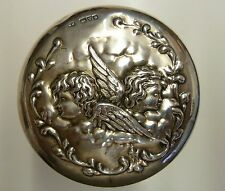 Hall Marked Silver Topped Dressing Table Glass Container Cherub Design Chester