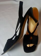 "Black Mesh Fabric Bruno Magli 2 1/4"" Heel Sling Back Peep Toe Sandals 9 B Nice!"