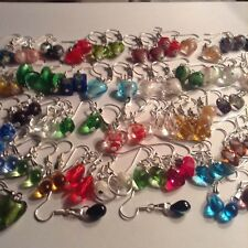 50 Pairs Mix Earrings,Murano Millefiori Silver foil Lamwork Czech drop beautiful