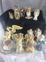 """(Lot Of 13) Vintage Collectible Porcelain Angel Figurines From 2.5"""" To 10 Inches"""