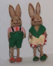 RARE Pair Vintage Wagner Flocked Kunstlerschutz Rabbits Bunnies Clothes Germany