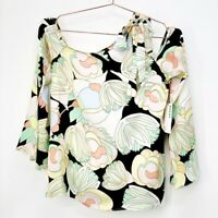 NWT Bailey44 Womens Multicolor Floral Athena Long Sleeve Tie Neck Top Size Small