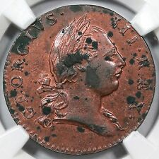 1773 5-Z R-5+ NGC UNC Details w/ Period Virginia Colonial Copper Coin 1/2p