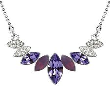 18K WHITE GOLD GP Made With SWAROVSKI CRYSTAL Layer Leaf Pueple NECKLACE