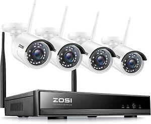 ZOSI 8CH 1080P HD WLAN Überwachungskamera Set WiFi NVR 4x Außen Funk IP Kamera